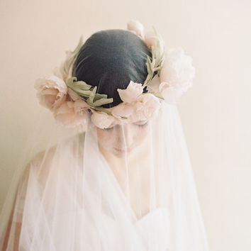 English rose blush bridal silk flower crown - Eglantine no. 2014