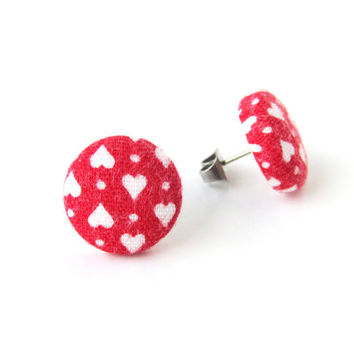 Valentines day gift - Red heart button earrings - heart stud earrings - tiny red fabric earrings