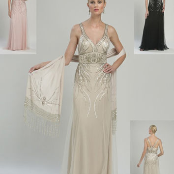 Sue Wong Prom Dresses - Champagne Deco Beaded Tulle Gown