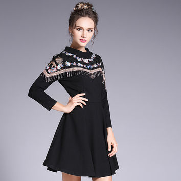 Embroidery Lace Inset Black Fit Flare Mini Dress Women Embellished Long Sleeve Party Dresses Plus Size l to 5xl