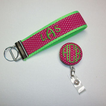 Key FOB / KeyChain / Wristlet retractable reel combo - 3 initial monogram on your choice of pin swiss dots preppy -  custom personalize