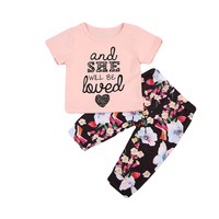 'And She Will Be Loved' 2 Piece T-shirt Tops +Floral Pants