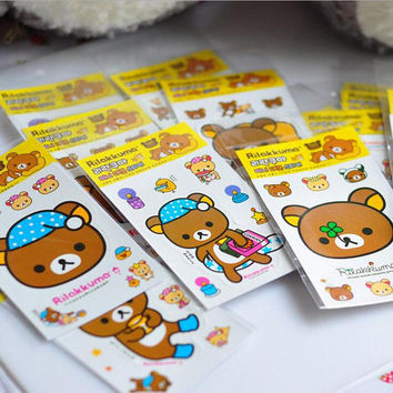 Rilakkuma Sticker Pack - Bear Planner Stickers - Cute Kawaii Stationery - Sticker Sheet - Bullet Journal - Scrapbooking