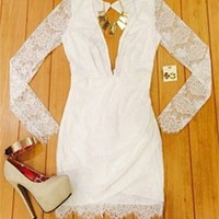 Sexy White Plunging V Neck Cut Out Zip Back Lace Long Sleeve Mini Dress
