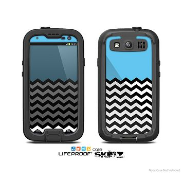 The Solid Blue with Black & White Chevron Pattern Skin For The Samsung Galaxy S3 LifeProof Case