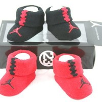 Nike Jordan Infant Baby Booties Socks Black and Red 0-6 Months