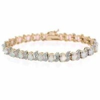 Gold Tone over Sterling Silver Created White Opal & Diamond Accent Tennis Bracelet