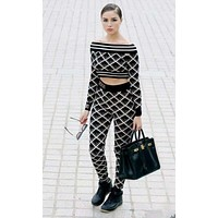 FENDI Autumn Winter Fashion Women Casual Knit Long Sleeve Off Shoulder Sweater Top Pants Two Piece
