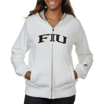 FIU Panthers Ladies Huddle Full Zip Sherpa-Lined Hooded Jacket - White