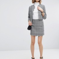 ASOS Tweedy Mini Skirt with Scallop Detail Co-ord at asos.com