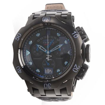 Invicta 17182 Men's Jason Taylor Reserve MOP Black Dial Leather Strap Chronograph Dive Watch