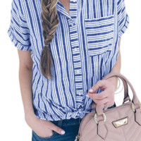 Fashion Stripe Shirt Ladies Short Sleeve European and American Loose Casual Shirt New Top