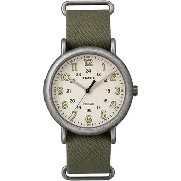 Timex Weekender Oversized Watch - Tan Dial-Antique Chrome-Olive Strap [TW2P85900JV]
