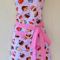 Pink Cupcake Apron, Cute Retro Apron, Bakery, Desserts, Sprinkles, Womens Full Apron, KitschNStyle