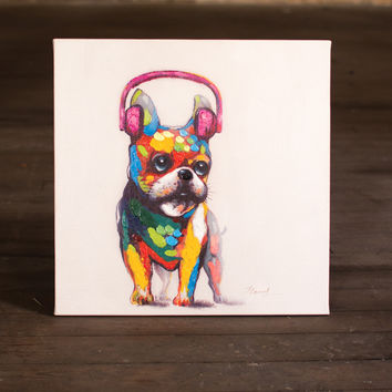 Oil Painting- Bull Dog with Pink Headphones