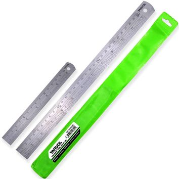 "12""& 6"" Metal Ruler Set (HEAVY DUTY 100% STAINLESS STEEL) 2 Piece Set - 12 Inch (30 CM) Ruler with 6 Inch (15 CM) Ruler in Convenient Storage Case - Perfect Straight Edge For Easy Measurements"