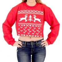 Ugly Christmas Prancing Reindeer 8-bit Women's Red Cropped Sweatshirt