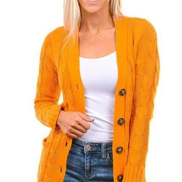 Mustard Cable Knit Button Down Cardigan