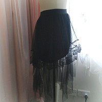 Gothic Goth Steampunk Ruffles High Low tulle black irregular hem  Mermaid Black Skirt dark witch style wicked
