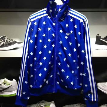 Adidas Classic Three Stripe Cute Five-pointed star Blue Jacket