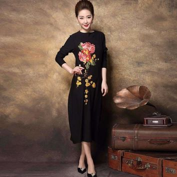 Middle Age Women Party Dress Embroidery Rhinestone Long Knitted Dress Cultivating Plus Size Vested L-Xxxxl