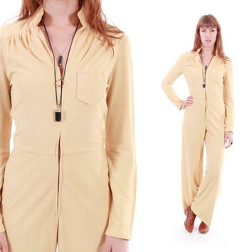 70s Cornflower Yellow Jumpsuit Pale Pastel Wide Leg Flare Overalls Fitted 1970's Disco Queen Boho Chic Vintage Clothing Womens Size XS