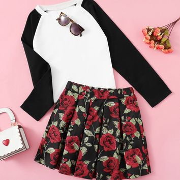 Girls Raglan Sleeve Tee and Floral Pleated Skirt Set