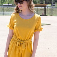 Emilie Knit Romper, Yellow