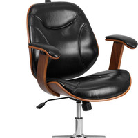 High Back Black Leather Executive Wood Swivel Office Chair
