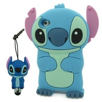 DD Cartoon Cute Lovely Blue Stitch & Lilo Movable Ear Soft Silicone Case Cover Protective Skin for Apple iPhone 5C + 3D Stitch Stylus Touch Pen