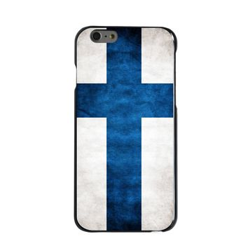 DistinctInk® Hard Plastic Snap-On Case for Apple iPhone - Finland Old Flag