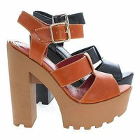 Freese Tan By Shoe Republic, Chunky High Heel Lug Sole Platform Open Toe Sandal