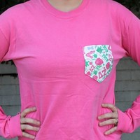 Delta Zeta Long Sleeve Tee Shirt in Crunchberry with Pattern Pocket by the Frat Collection