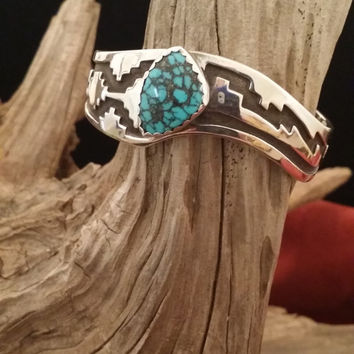 Vintage Native American Turquoise and Sterling Silver Cuff Bracelet