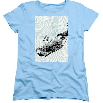 Whale On Wave Paper - Women's T-Shirt (Standard Fit)