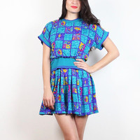 Vintage 80s Dress Teal Blue Pink Purple Plaid Floral Skater Skirt Slouch Top Micro Mini Dress 1980s Silk New Wave Tshirt Dress XS S Small