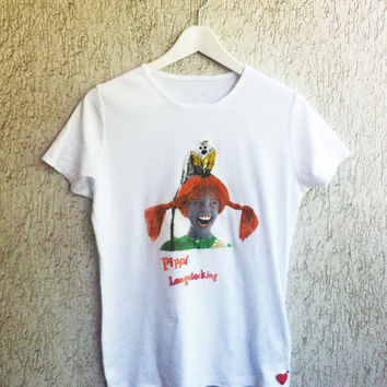 Pippi  Longstocking Tshirt T-shirt Calzelunghe shirt Langstrump Einladunghand painting MADE TO ORDER