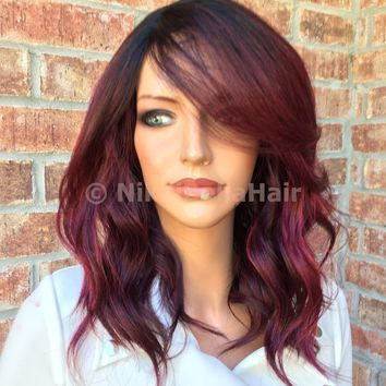 Cherry Red Balayage Human Hair Blend full wig 10""