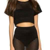 Shilpa Pointelle Knit Crop Tee