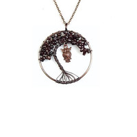 Garnet Tree of Life Pendant , Copper  Wire  Wrapped , Genuine  Garnet Gemstones ,  Round Pendant Necklace ,  Garnet Pendant
