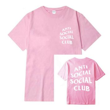 "Fashion loose leisure print""anti social social club"" T-shirt Pink"