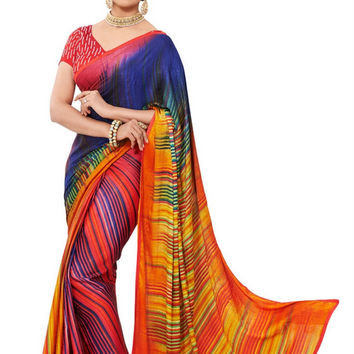 Beautiful Multi-Colored Graphic Print Exclusive Designer Satin Saree D-115