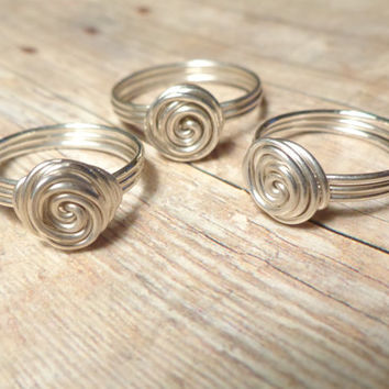 Set of 3 to 10 Rings, Sterling Silver Bridesmaid Gift Set of 3 4 5 6 7 8 9 and 10, Tie the Knot Ring, Sister Rings, Friendship Rings