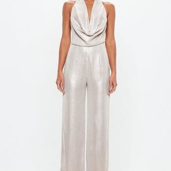 Missguided - Peace + Love Stone Metallic Cowl Halterneck Backless Jumpsuit