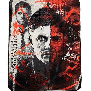 Supernatural Half Face Fleece Throw