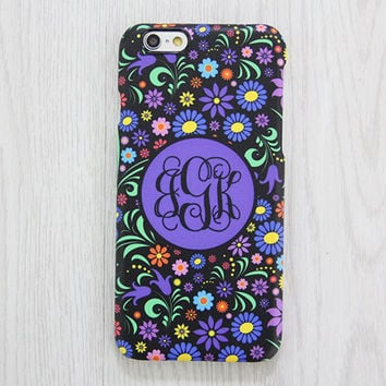 Violet Floral Monogram iPhone 6 Case iPhone 6 plus Case iPhone 5S Case iPhone 5C Case iPhone 4S Case Galaxy S6 Edge S5 S4 S3 Note 3 Case 063