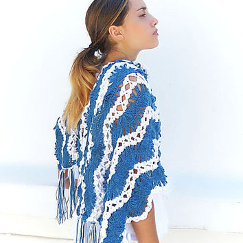 Crochet stole. Lace crochet  shawl. Capelet, Cowl. Blue White Lacy Wide scarf.