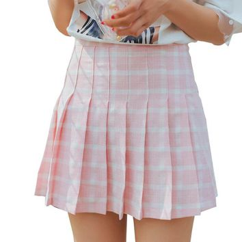 Women Pleated Skirt Preppy Style Harajuku Kawaii Plaid Skirts Lolita Mini Cute School Uniforms Saia Faldas Ladies Jupe SK676