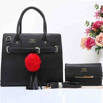 Gotopfashion HERMES Fashion Tassel Ball  Women Shopping Leather Crossbody Satchel Shoulder Two Piece Black I-XS-PJ-BB