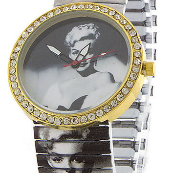 PAVE EDGED GRAPHIC PRINT FACE AND STRETCH BAND ANALOG WATCH